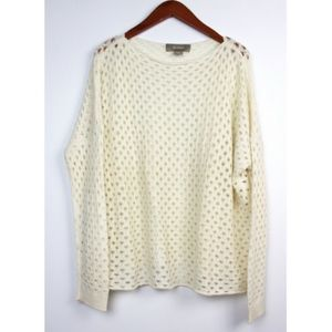 PLY CASHMERE Ivory Open Knit Pullover Sweater